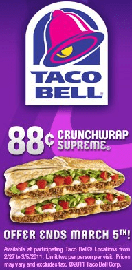 Tacobellcrunch Taco Bell | Crunch Wrap Supreme Only $.88! {Limited Time}