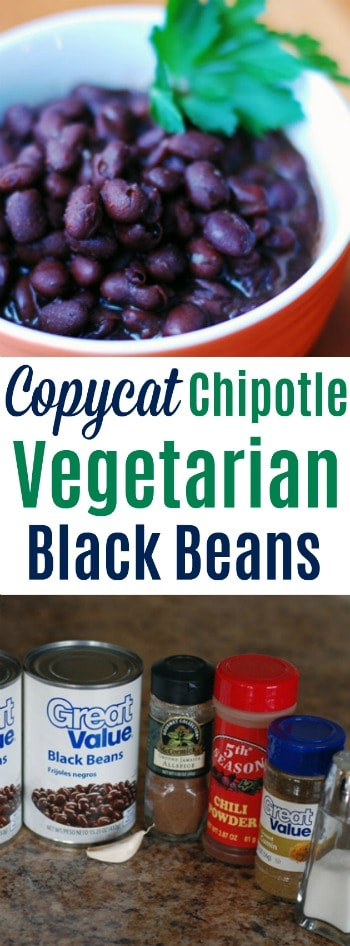 Super simple vegetarian black bean recipe that tastes just like what you get at Chipotle!