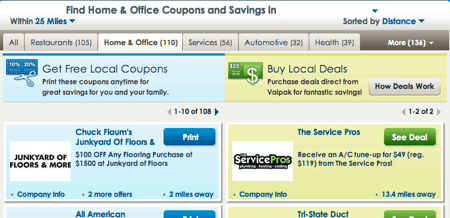 ValPak Local Coupon Code page