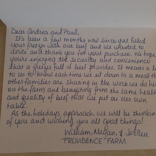 Personal Letter from Farmer