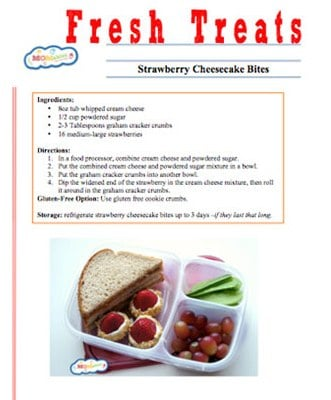 Sample menu of healthy lunch ideas for kids