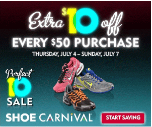 Shoe Carnival Coupon: $10 off $50 Purchase