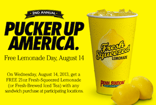 Penn Station Free Lemonade