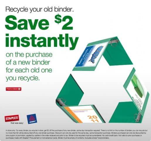 Staples Binder Recyle Program