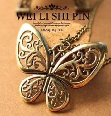 Bronz butterfly shape necklace