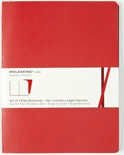 Red Extra Large Volant Plain Notebook