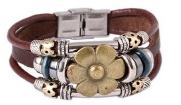 Sunflower Vintage Style Leather Bracelet
