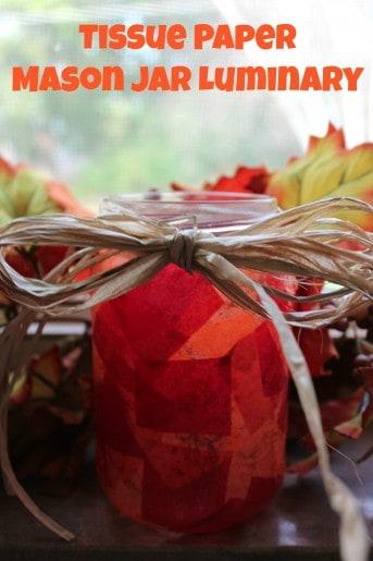 Tissue Paper Mason Jar Luminary DIY