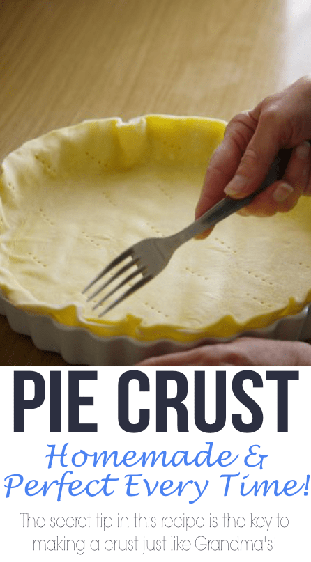 This easy homemade pie crust will wow your friends and family! There is a secret tip to make it tasting just like Grandma's too!