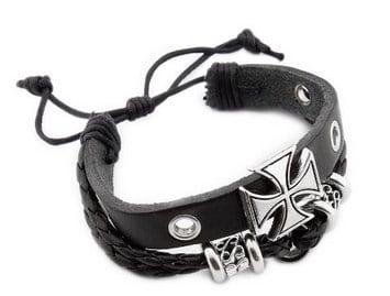Roman Crusade Style Cool Cross Friendship Bead Leather Bracelet