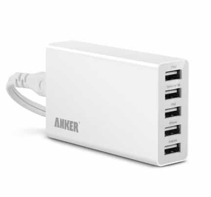 Anker® 25W 5-Port USB Family-Sized Desktop Charger with 5-Foot Power Cord for Apple & Android Smartphones & Tablets and other USB-Powered Devices_ Cell Phones & Accessories