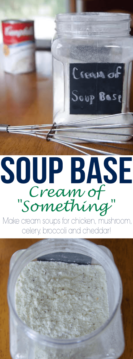 "Use this Soup Base recipe to make several variations of a Cream of ""Something"" soup mixture. Much cheaper and healthier to make versus buy!"