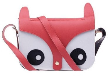 Cute Fox Owl Design Retro Shoulder Messenger Bag PU Leather Crossbody Fashion Satchel Animal Handbag-Pink_ Clothing