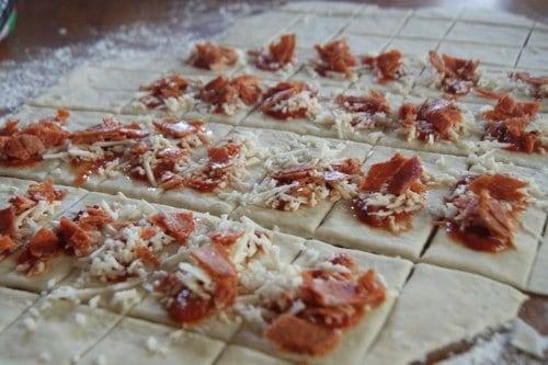 Making Homemade Pizza Rolls