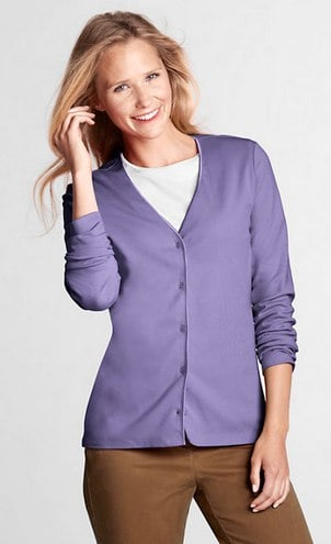 Women_s Long Sleeve Interlock V-neck Cardigan from Lands_ End