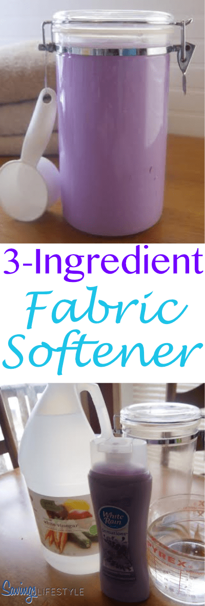 Quick, easy and inexpensive 3-Ingredient Fabric Softener recipe!