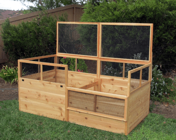 Rabbit-proof Raised Garden Bed with Two Trellises