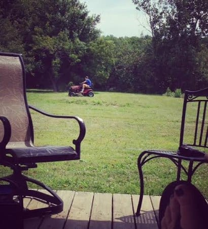 T Mowing Mom Relaxing