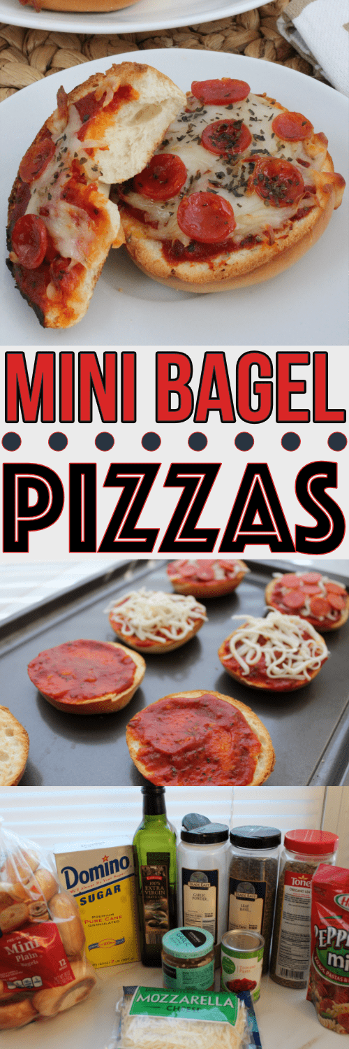 These mini bagel pizzas are super easy to make, and perfect to let the kids be involved with mealtime prep!