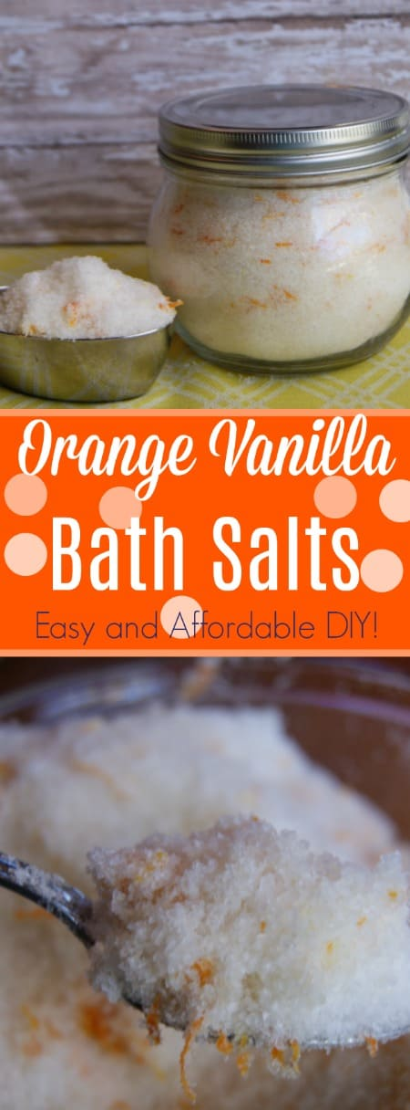 These orange vanilla bath salts smell divine! Make your own customized version at home for less than a buck!