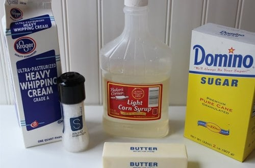 Ingredients for Homemade Salted Caramels