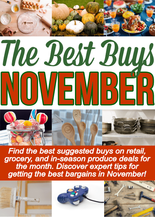 A long list of things to buy in November including grocery items, retail deals and miscellaneous services.