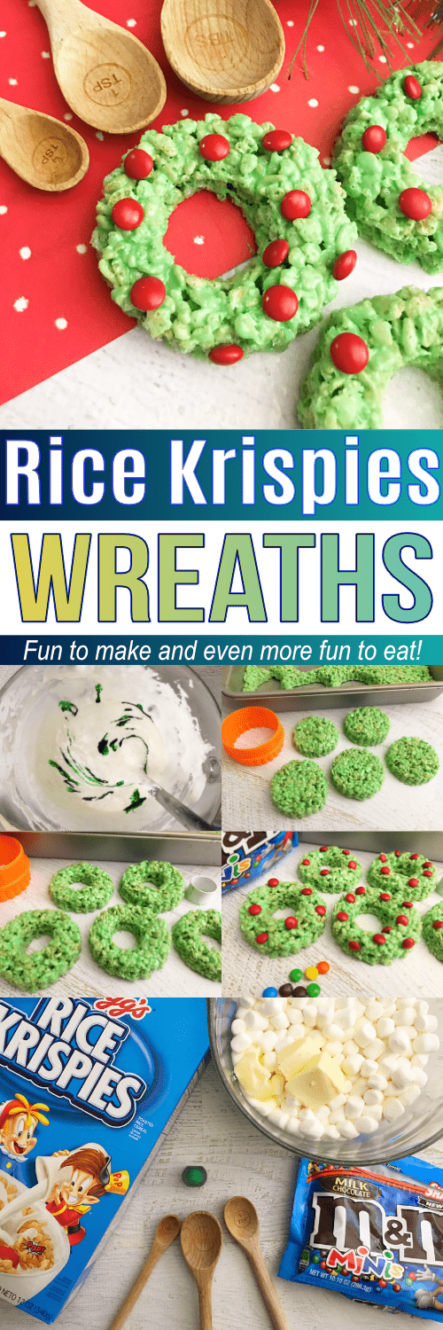 These Rice Krispies Wreaths are so fun to make AND eat! They would be perfect as a make & take for a classroom party!
