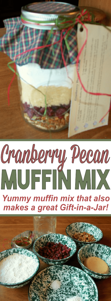This Cranberry Pecan Muffin Mix tastes delicious! They store great in a mason jar and make for the perfect Gift-in-a-Jar!