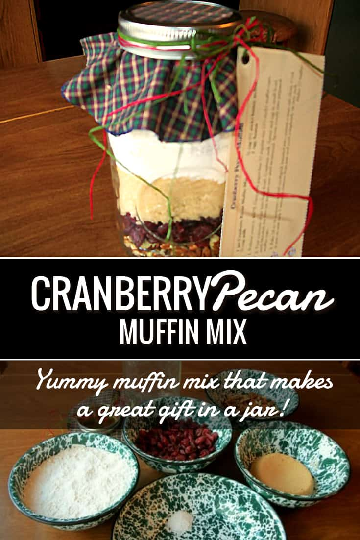 Gift in a Jar: Cranberry Pecan Muffin Mix via @AndreaDeckard