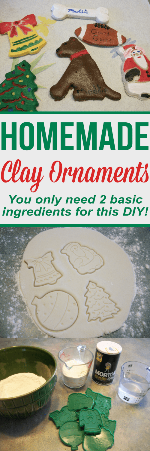 This homemade clay ornaments recipe is the perfect DIY to make hand prints with the kids or use cookie cutters for a handmade christmas ornament!