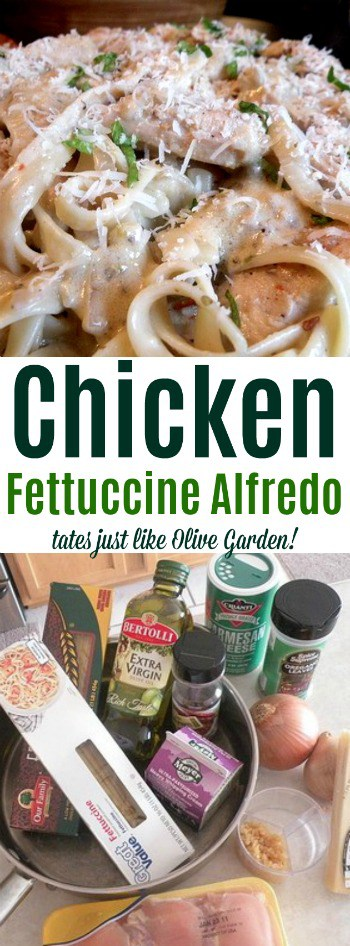 This Olive Garden Grilled Chicken Fettucine and Alfredo Sauce recipe is one of our family favorites! Make the easy meal at home yourself, along with a homemade version of the Olive Garden salad dressing and famous breadsticks!