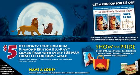 Subway Kids Meals 5 Off Coupon For Disney Lion King Dvd Savings Lifestyle