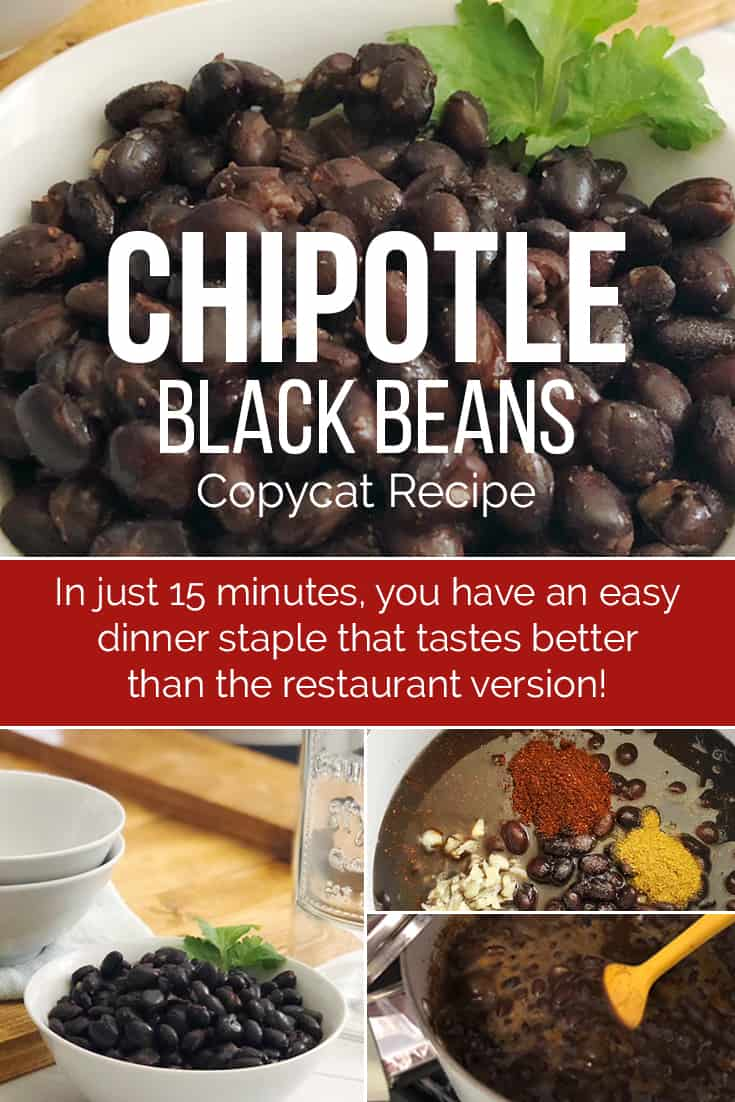 This copycat Chipotle Black Beans recipe is the perfect addition to any homemade burrito. This recipe is an easy way to learn how to cook black beans! via @AndreaDeckard