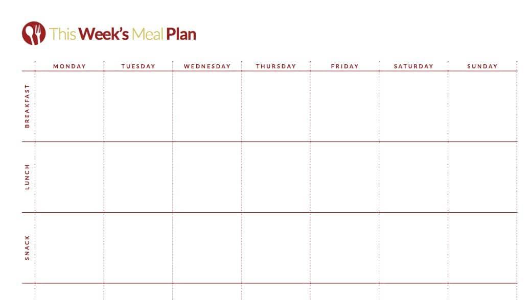 weekly menu planning printable-color