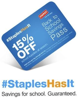 Staples Back to School Savings Pass