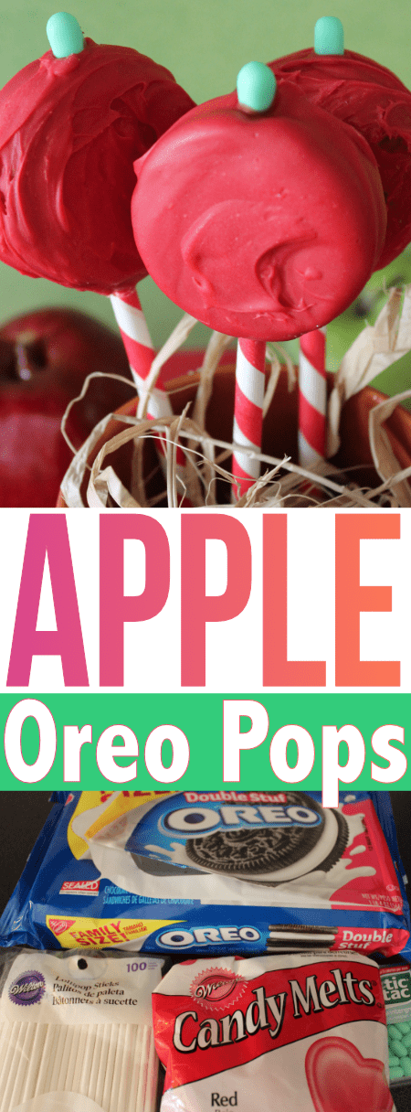 This easy semi-homemade recipe to make Apple Oreo Pops will make you feel like you're cheating! Perfect for little helpers in the kitchen too!