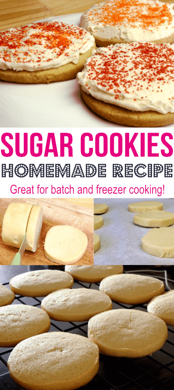 This sugar cookies recipe is super easy to make! Double the recipe and freeze to enjoy homemade cookies later!