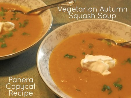 Panera Vegetarian Autumn Squash Soup Copycat Recipe