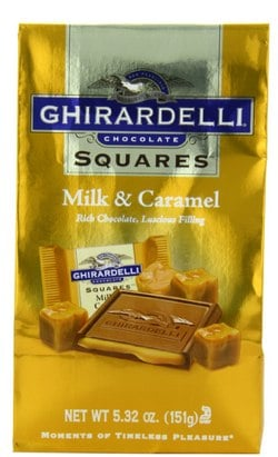 Ghirardelli Chocolate Squares, Milk Chocolate with Caramel Filling, 5.32-Ounce Bags (Pack of 6)_ Amazon.com_ Grocery & Gourmet Food