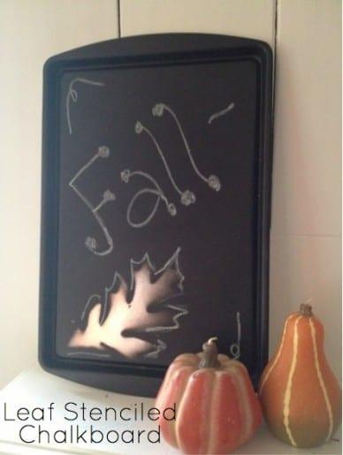 Leaf Stenciled Chalkboard Craft
