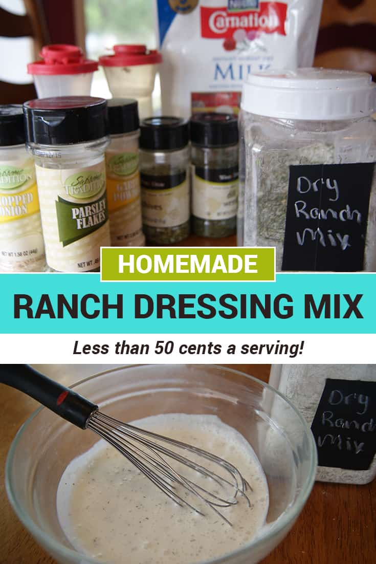 This homemade ranch dressing mix is cheaper than Hidden Valley but tastes the same! Mix it together with common seasonings in your spice cabinet.  via @AndreaDeckard