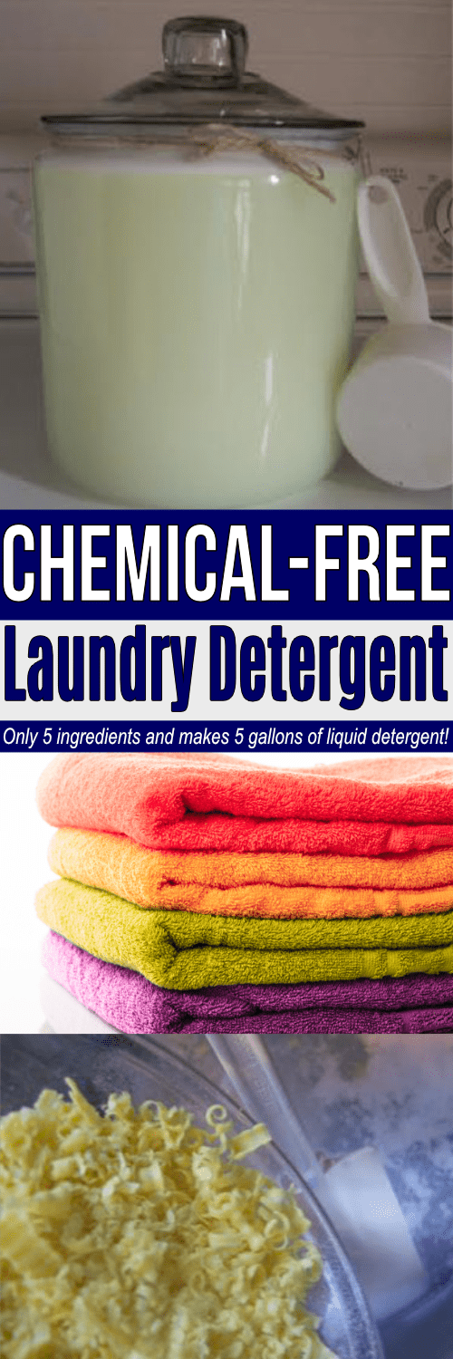 With just 5 ingredients, this liquid laundry detergent recipe makes 5 gallons of detergent! Best part: it's chemical-free!!