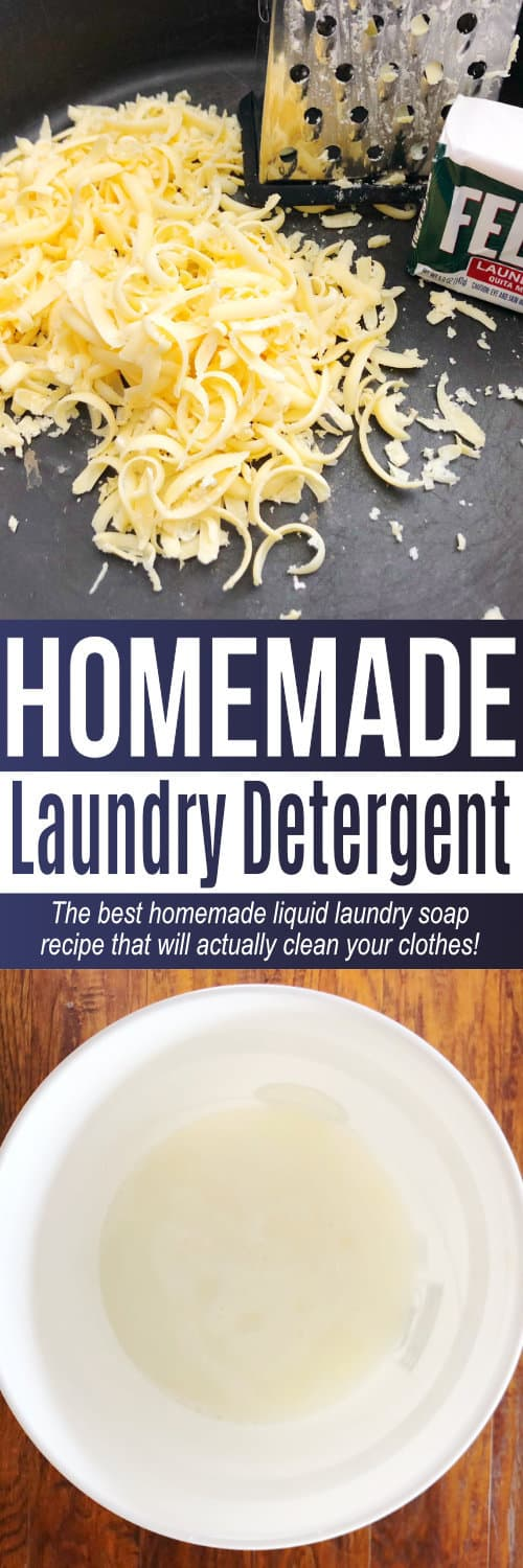 This homemade laundry soap is an easy DIY laundry detergent recipe to make if you want to learn how to make laundry detergent! All natural and no chemicals! via @AndreaDeckard