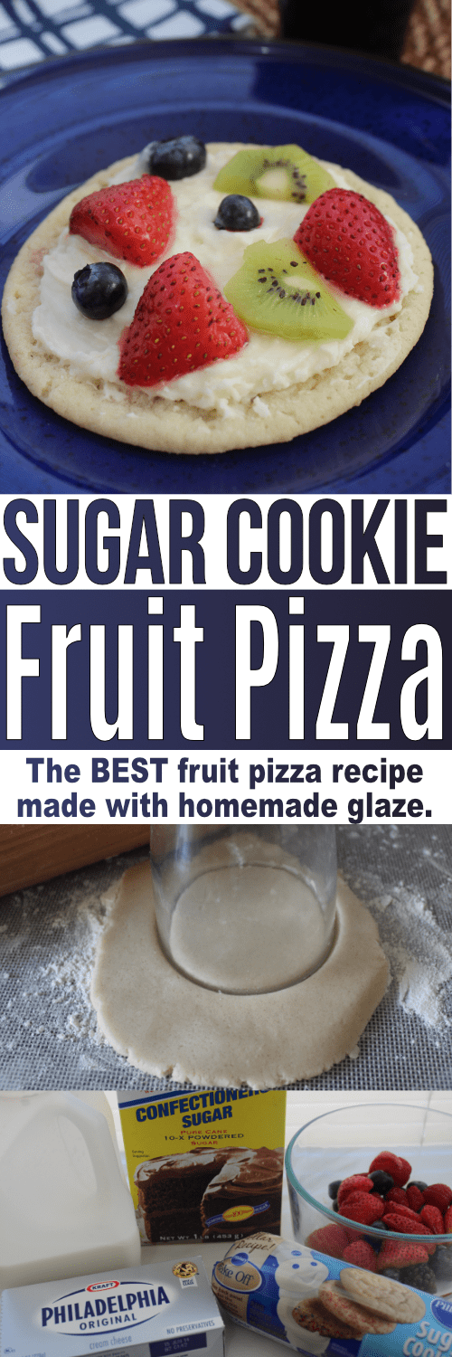 This sugar cookie fruit pizza recipe is super easy to make, and dare I say, the BEST fruit pizza recipe out there! The fruit pizza glaze is super quick to make too. This recipe is so much easier than a homemade fruit pizza from scratch!
