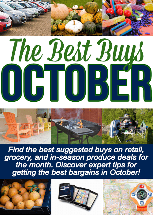 A long list of things to buy in October including grocery items, retail deals and miscellaneous services. Save this one for BIG savings!