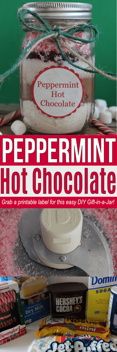 Easy DIY Gift of Peppermint Hot Chocolate Mix in a Jar!