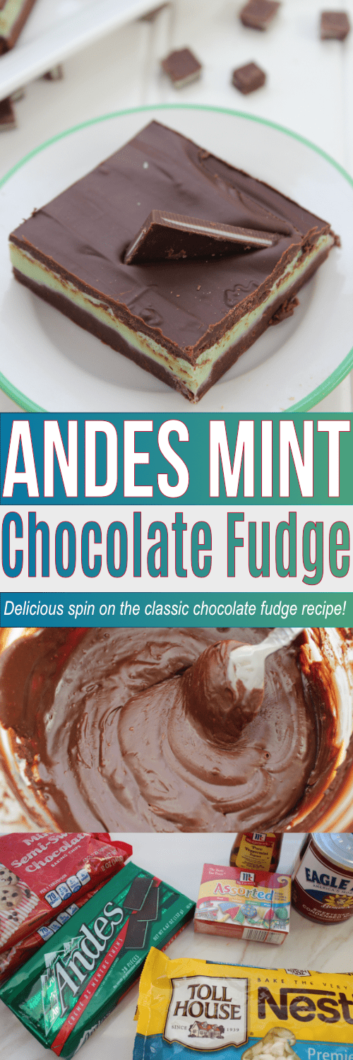Easy recipe for Andes Mint Chocolate Fudge. Delicious spin on the classic chocolate fudge recipe!