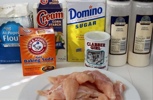 All of the ingredients you will need to make the Long John Silvers chicken batter recipe and yummy chicken planks!
