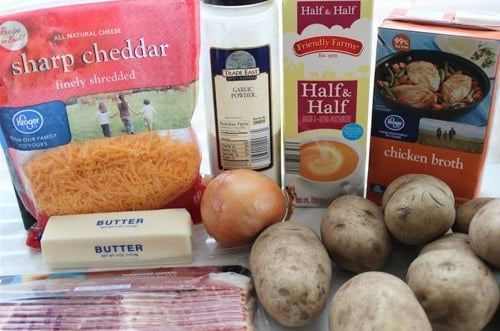 Ingredients for Potato Soup in the Crockpot