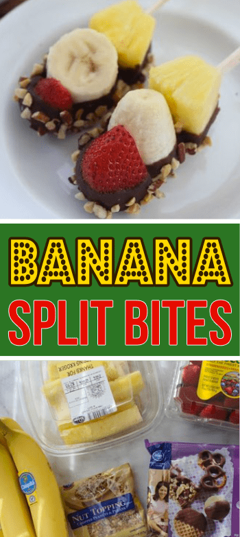 Easy and healthy(ish) Banana Split Bites recipe. Great for team snacking and parties!